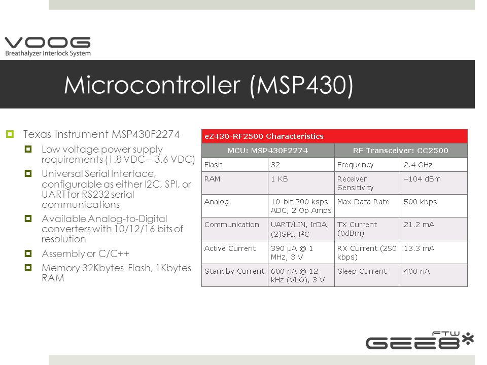 Microcontroller (MSP430)  Texas Instrument MSP430F2274  Low voltage power supply requirements (1.8 VDC – 3.6 VDC)  Universal Serial Interface, configurable as either I2C, SPI, or UART for RS232 serial communications  Available Analog-to-Digital converters with 10/12/16 bits of resolution  Assembly or C/C++  Memory 32Kbytes Flash, 1Kbytes RAM
