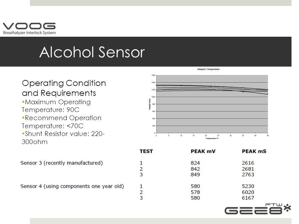 Alcohol Sensor Operating Condition and Requirements  Maximum Operating Temperature: 90C  Recommend Operation Temperature: <70C  Shunt Resistor value: 220- 300ohm