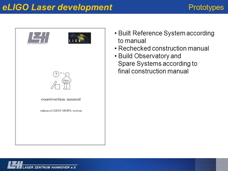 eLIGO Laser development Built Reference System according to manual Rechecked construction manual Build Observatory and Spare Systems according to final construction manual Prototypes