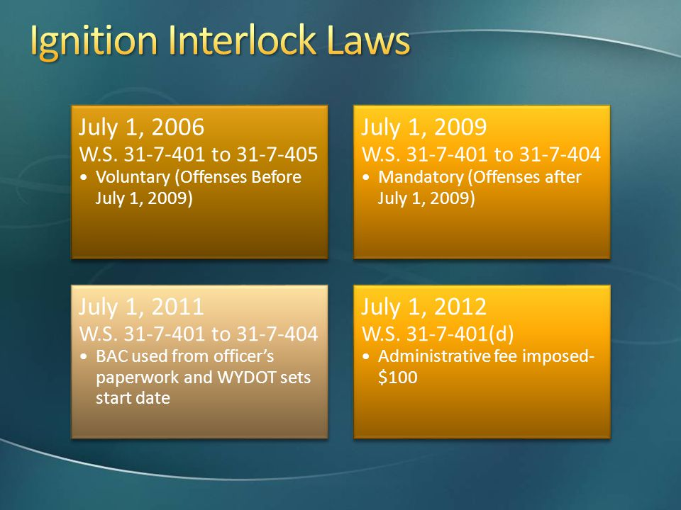 July 1, 2006 W.S. 31-7-401 to 31-7-405 Voluntary (Offenses Before July 1, 2009) July 1, 2009 W.S. 31-7-401 to 31-7-404 Mandatory (Offenses after July