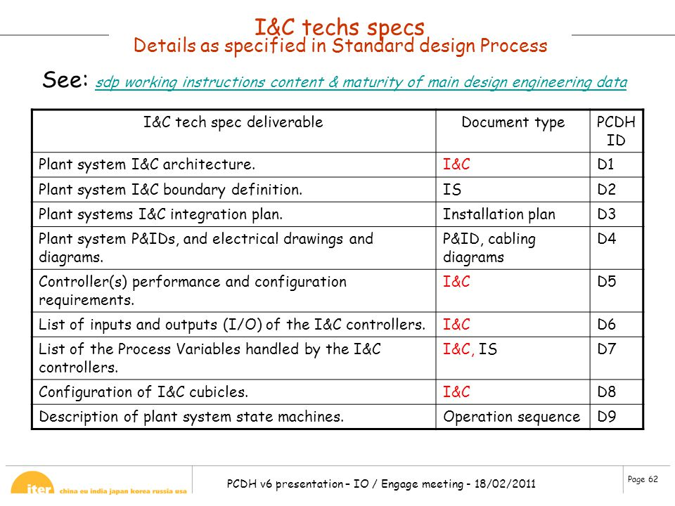 Page 62 PCDH v6 presentation – IO / Engage meeting - 18/02/2011 I&C techs specs Details as specified in Standard design Process See: sdp working instr