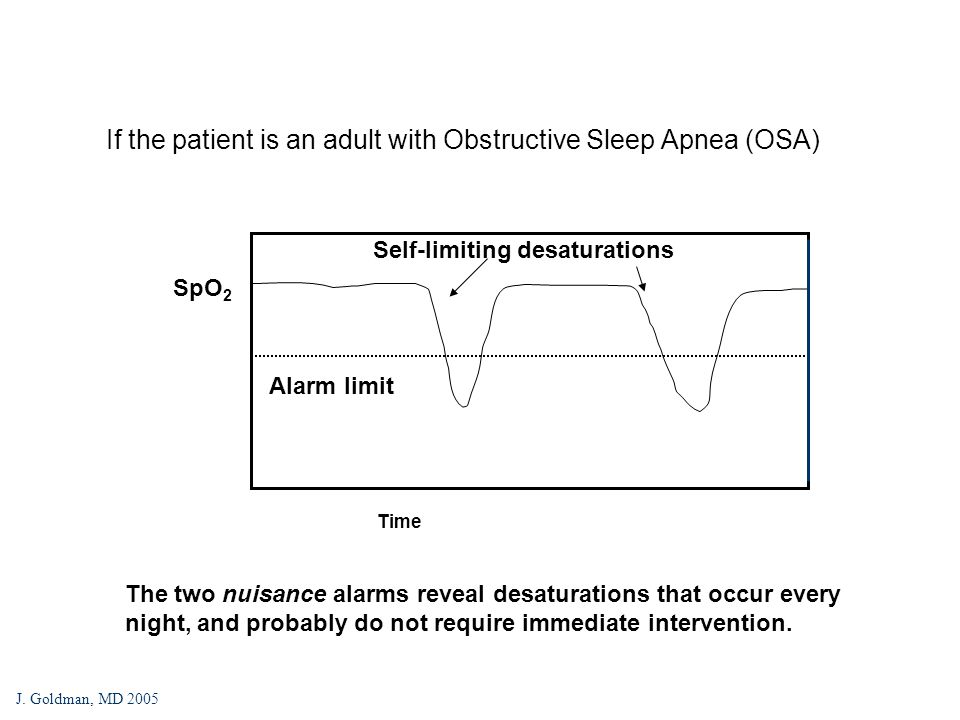 If the patient is an adult with Obstructive Sleep Apnea (OSA) SpO 2 Time Self-limiting desaturations Alarm limit The two nuisance alarms reveal desaturations that occur every night, and probably do not require immediate intervention.