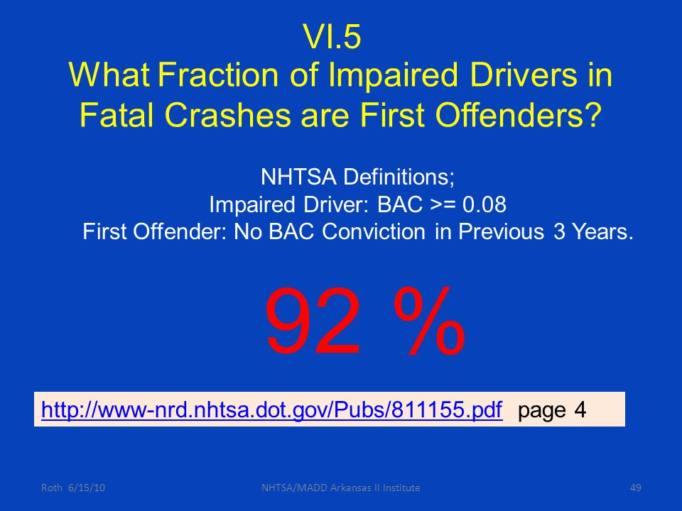 What Fraction of Impaired Drivers in Fatal Crashes are First Offenders? Roth 6/15/10NHTSA/MADD Arkansas II Institute49 NHTSA Definitions; Impaired Dri