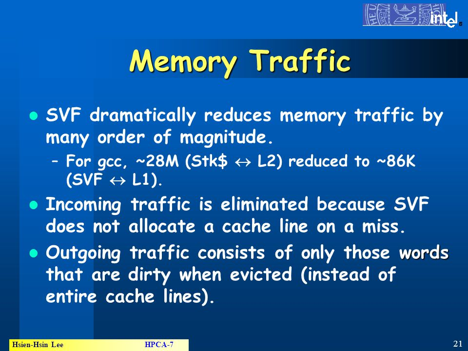 21 Hsien-Hsin Lee HPCA-7 ® Memory Traffic SVF dramatically reduces memory traffic by many order of magnitude.