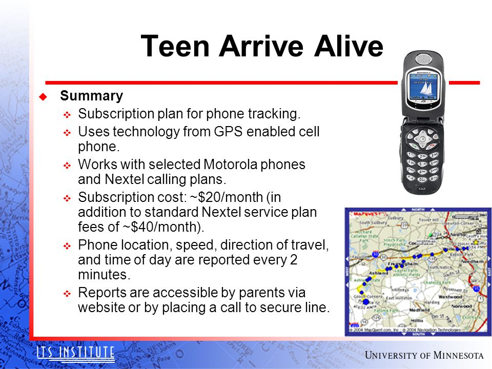 Teen Arrive Alive u Summary v Subscription plan for phone tracking.