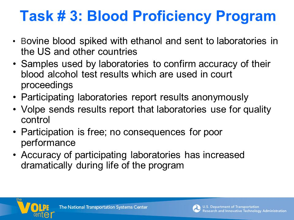 Task # 3: Blood Proficiency Program B ovine blood spiked with ethanol and sent to laboratories in the US and other countries Samples used by laboratories to confirm accuracy of their blood alcohol test results which are used in court proceedings Participating laboratories report results anonymously Volpe sends results report that laboratories use for quality control Participation is free; no consequences for poor performance Accuracy of participating laboratories has increased dramatically during life of the program