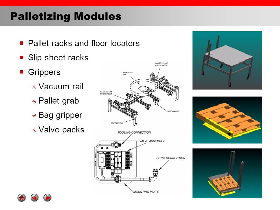 Palletizing Modules  Pallet racks and floor locators  Slip sheet racks  Grippers  Vacuum rail  Pallet grab  Bag gripper  Valve packs