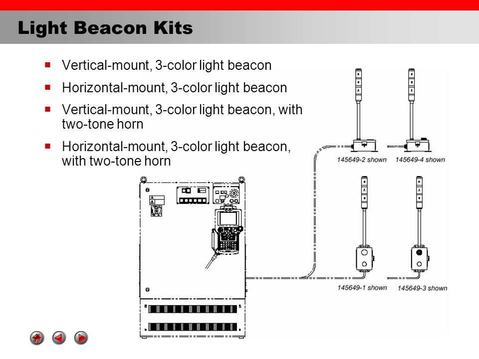 Light Beacon Kits  Vertical-mount, 3-color light beacon  Horizontal-mount, 3-color light beacon  Vertical-mount, 3-color light beacon, with two-tone horn  Horizontal-mount, 3-color light beacon, with two-tone horn