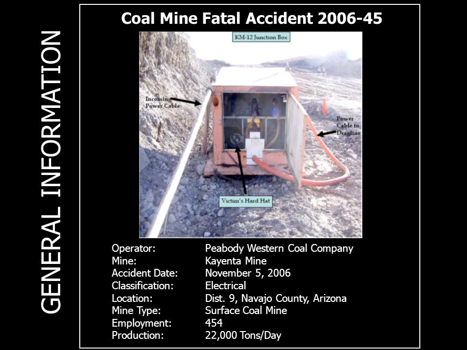 Coal Mine Fatal Accident 2006-45 Operator:Peabody Western Coal Company Mine:Kayenta Mine Accident Date:November 5, 2006 Classification: Electrical Loc