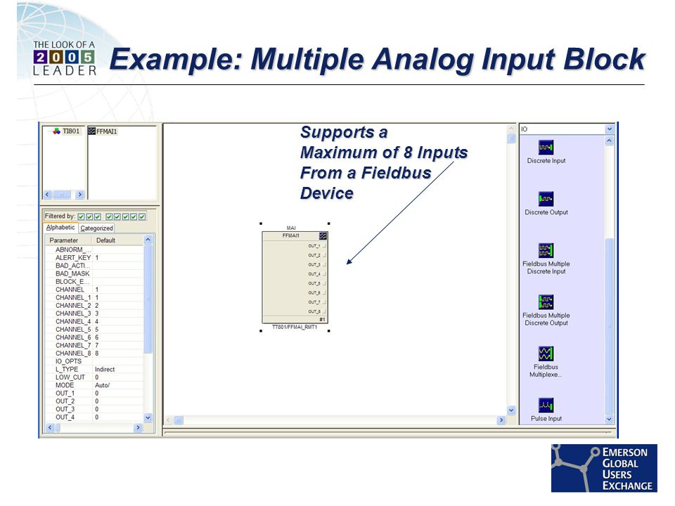 [File Name or Event] Emerson Confidential 27-Jun-01, Slide 19 Example: Multiple Analog Input Block Supports a Maximum of 8 Inputs From a Fieldbus Device