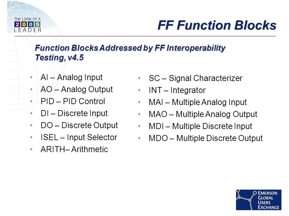 [File Name or Event] Emerson Confidential 27-Jun-01, Slide 4 FF Function Blocks AI – Analog Input AO – Analog Output PID – PID Control DI – Discrete Input DO – Discrete Output ISEL – Input Selector ARITH– Arithmetic SC – Signal Characterizer INT – Integrator MAI – Multiple Analog Input MAO – Multiple Analog Output MDI – Multiple Discrete Input MDO – Multiple Discrete Output Function Blocks Addressed by FF Interoperability Testing, v4.5