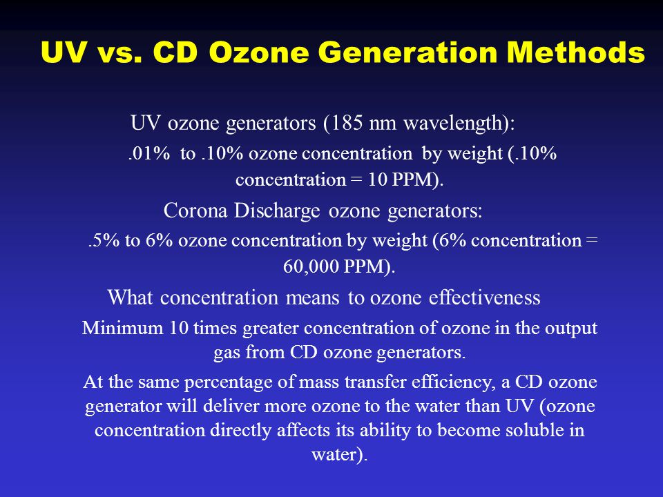 UV ozone generators (185 nm wavelength):.01% to.10% ozone concentration by weight (.10% concentration = 10 PPM). Corona Discharge ozone generators:.5%