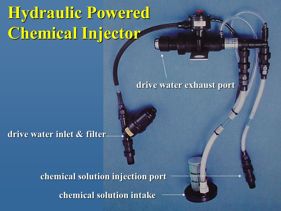 Hydraulic Powered Chemical Injector drive water inlet & filter chemical solution intake chemical solution injection port drive water exhaust port