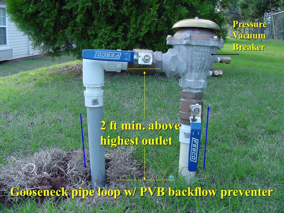 Gooseneck pipe loop w/ PVB backflow preventer 2 ft min. above highest outlet Pressure Vacuum Breaker