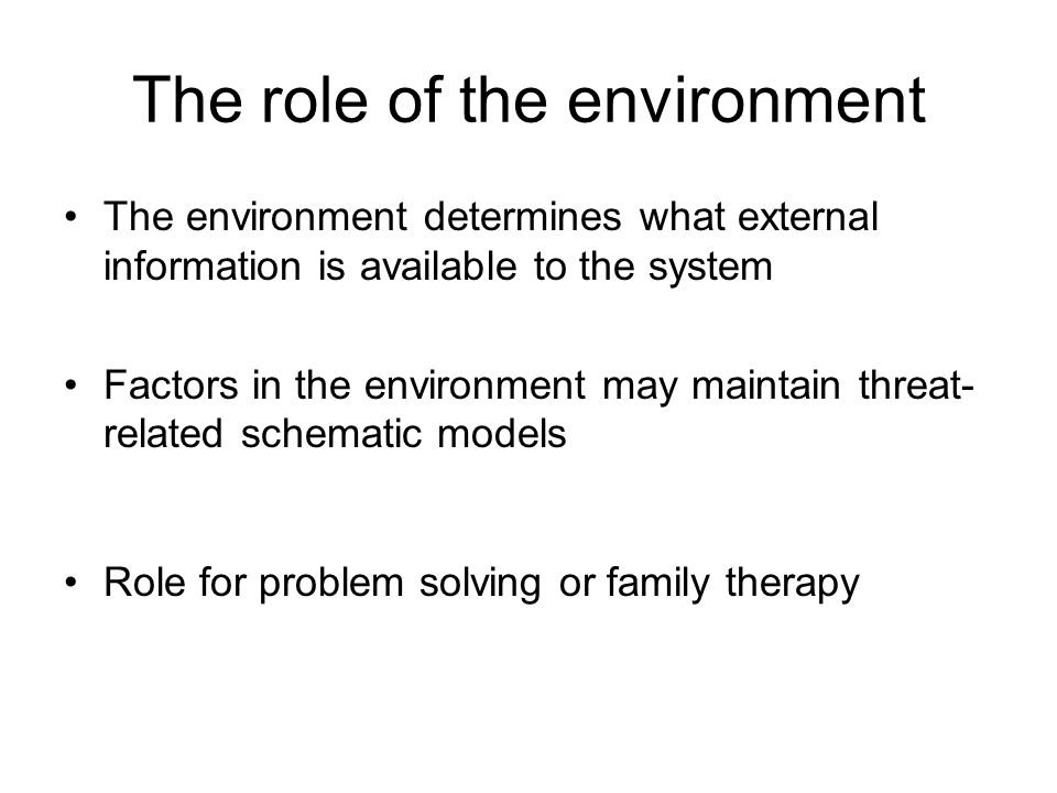 The role of the environment The environment determines what external information is available to the system Factors in the environment may maintain th