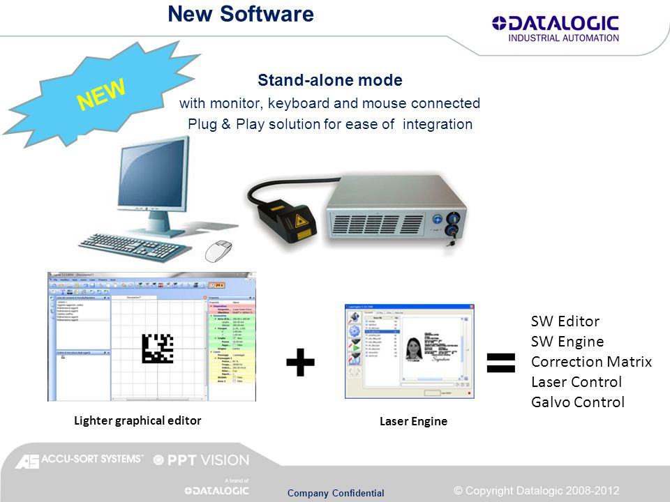 Company Confidential New Software NEW Stand-alone mode with monitor, keyboard and mouse connected Plug & Play solution for ease of integration Lighter graphical editorLaser Engine SW Editor SW Engine Correction Matrix Laser Control Galvo Control = +