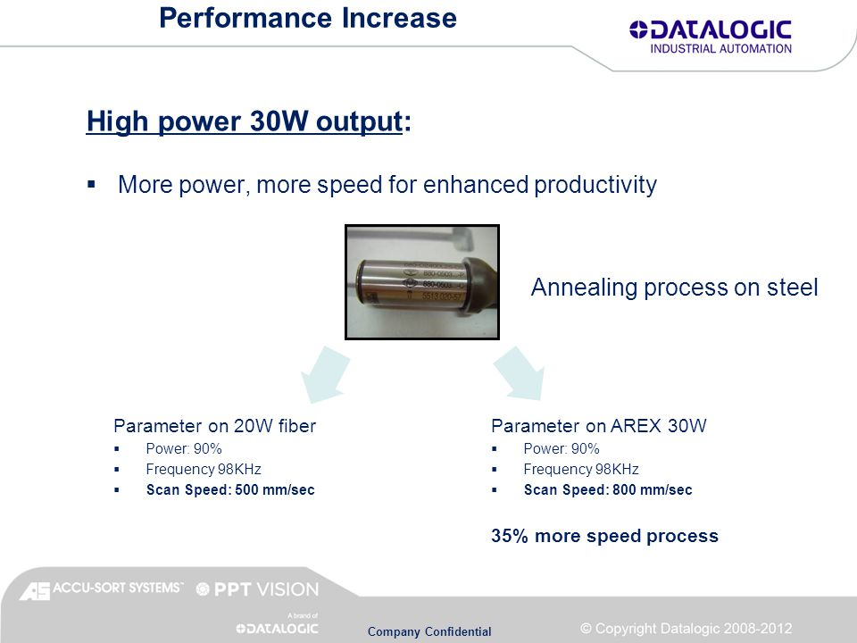 Company Confidential Performance Increase High power 30W output:  More power, more speed for enhanced productivity Annealing process on steel Parameter on 20W fiber  Power: 90%  Frequency 98KHz  Scan Speed: 500 mm/sec Parameter on AREX 30W  Power: 90%  Frequency 98KHz  Scan Speed: 800 mm/sec 35% more speed process
