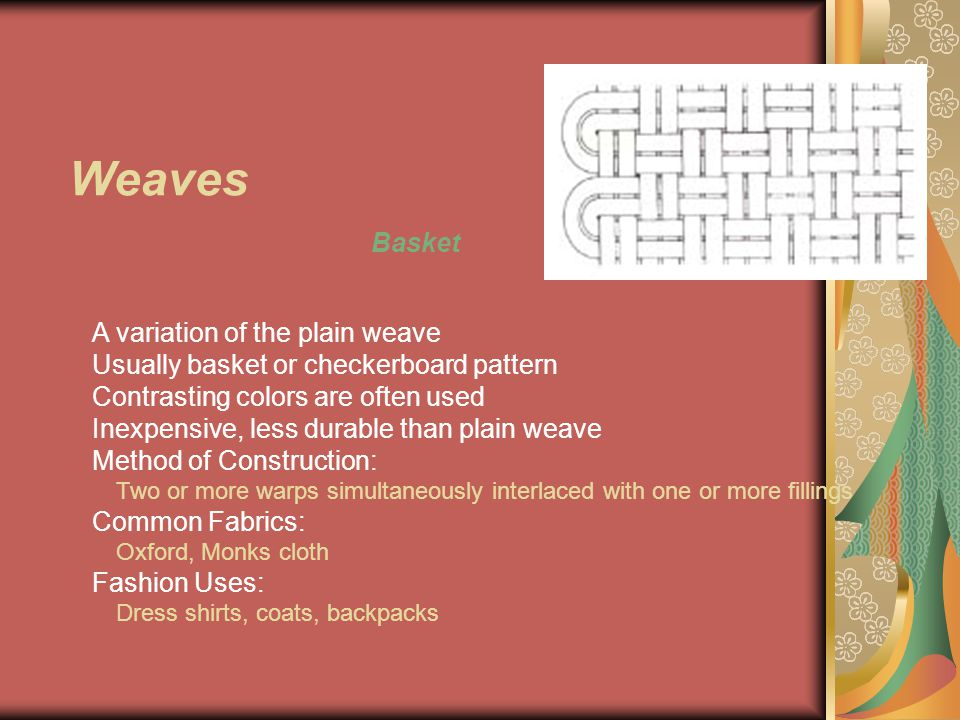 Weaves Basket A variation of the plain weave Usually basket or checkerboard pattern Contrasting colors are often used Inexpensive, less durable than plain weave Method of Construction: Two or more warps simultaneously interlaced with one or more fillings Common Fabrics: Oxford, Monks cloth Fashion Uses: Dress shirts, coats, backpacks