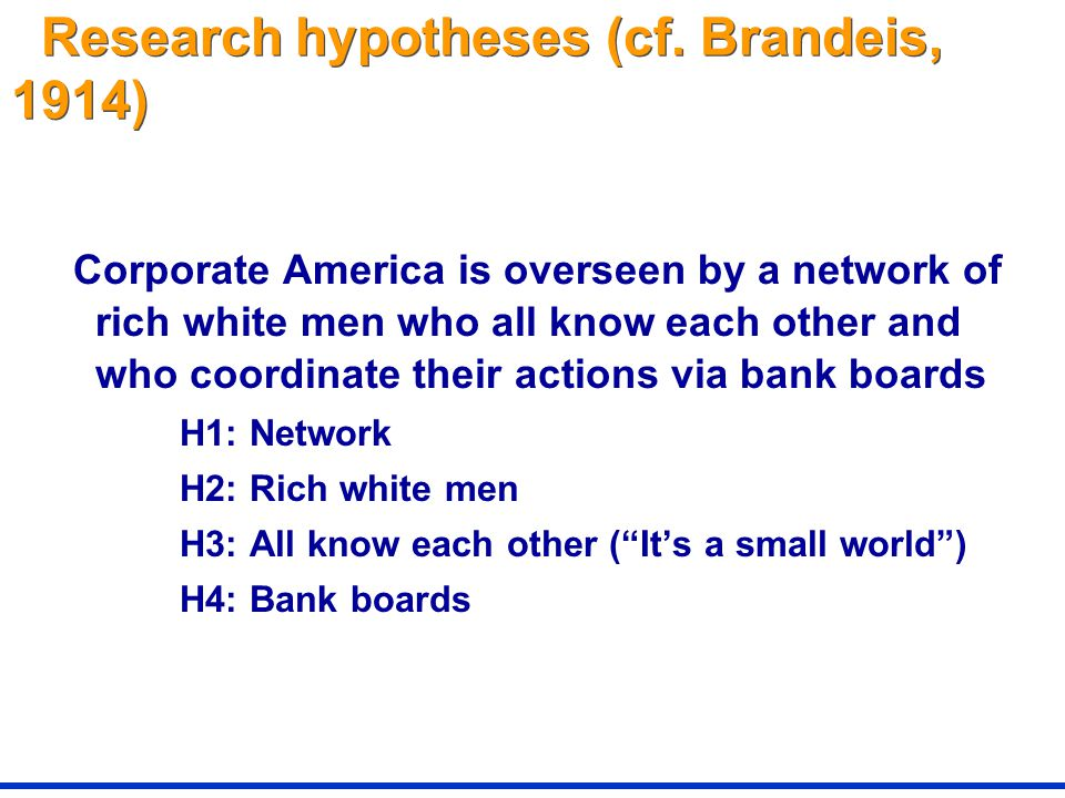 Research hypotheses (cf.