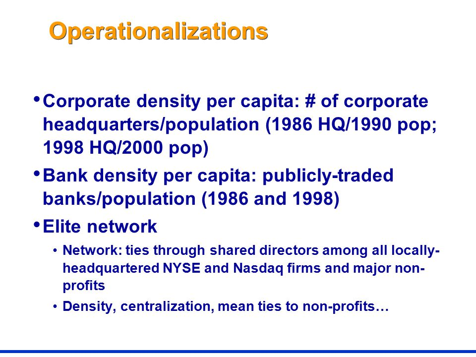 Operationalizations Corporate density per capita: # of corporate headquarters/population (1986 HQ/1990 pop; 1998 HQ/2000 pop) Bank density per capita: publicly-traded banks/population (1986 and 1998) Elite network Network: ties through shared directors among all locally- headquartered NYSE and Nasdaq firms and major non- profits Density, centralization, mean ties to non-profits…