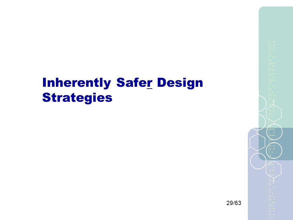 29/63 Inherently Safer Design Strategies