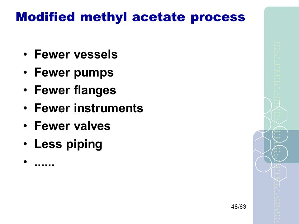 48/63 Modified methyl acetate process Fewer vessels Fewer pumps Fewer flanges Fewer instruments Fewer valves Less piping......