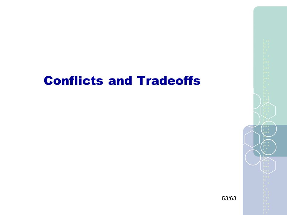 53/63 Conflicts and Tradeoffs