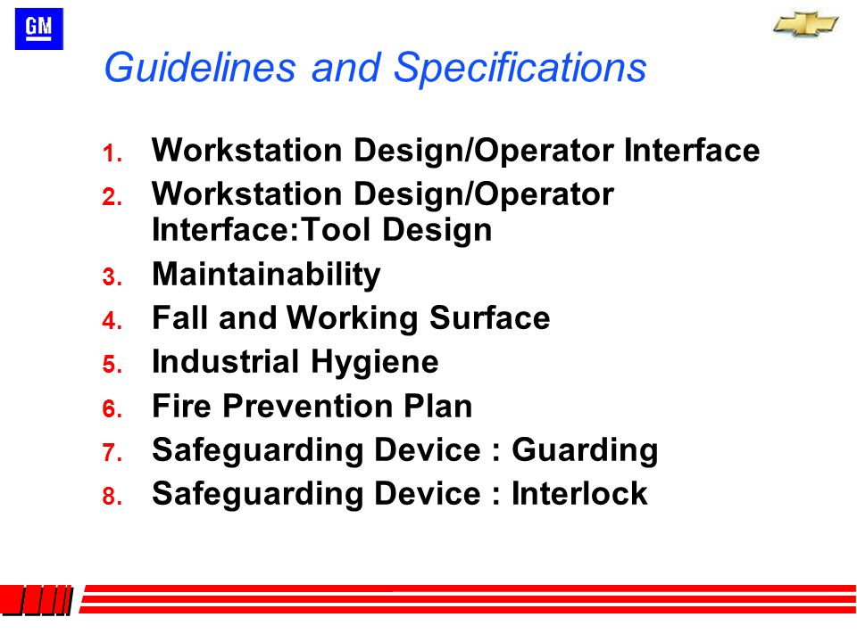 Guidelines and Specifications 9.Safeguarding : Presence Sensing Device 10.