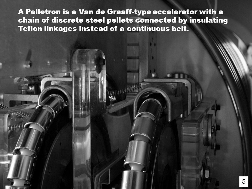 5 A Pelletron is a Van de Graaff-type accelerator with a chain of discrete steel pellets connected by insulating Teflon linkages instead of a continuous belt.