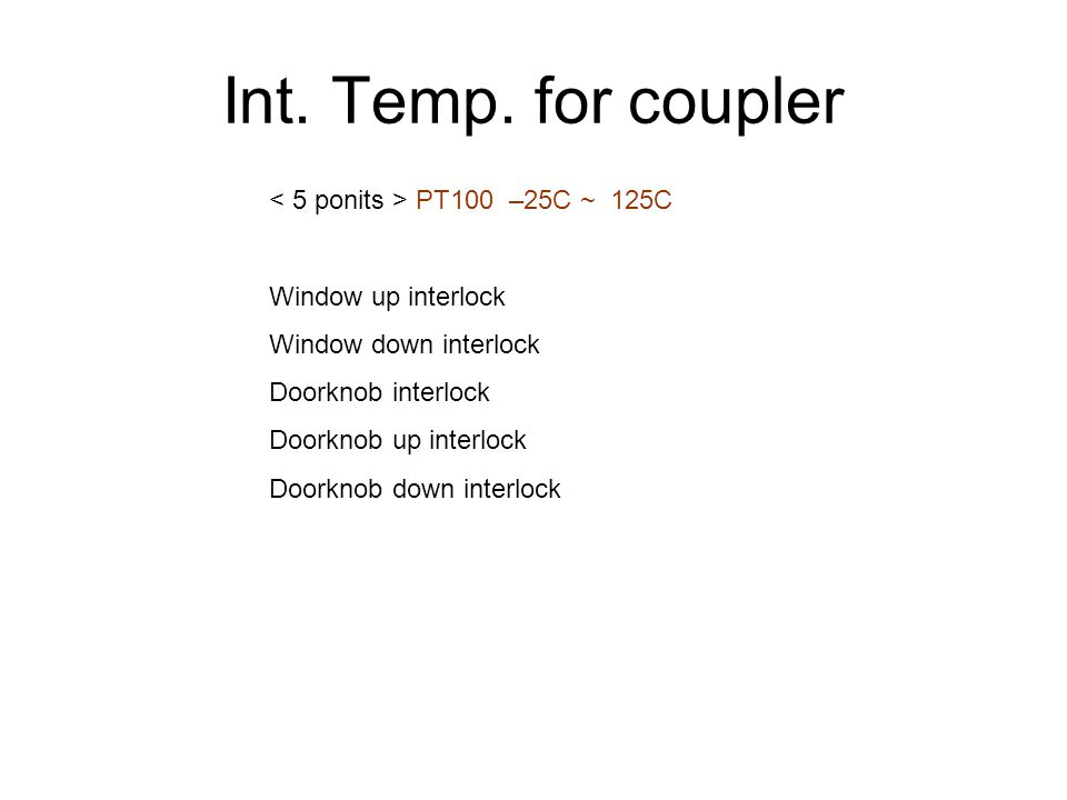 Int. Temp. for coupler PT100 –25C ~ 125C Window up interlock Window down interlock Doorknob interlock Doorknob up interlock Doorknob down interlock