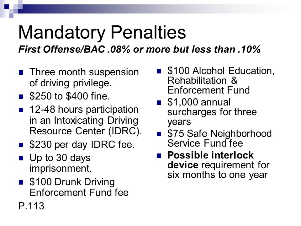 Mandatory Penalties First Offense/BAC.08% or more but less than.10% Three month suspension of driving privilege. $250 to $400 fine. 12-48 hours partic