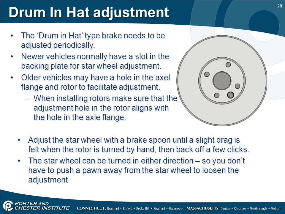 28 Drum In Hat adjustment The 'Drum in Hat' type brake needs to be adjusted periodically. Newer vehicles normally have a slot in the backing plate for