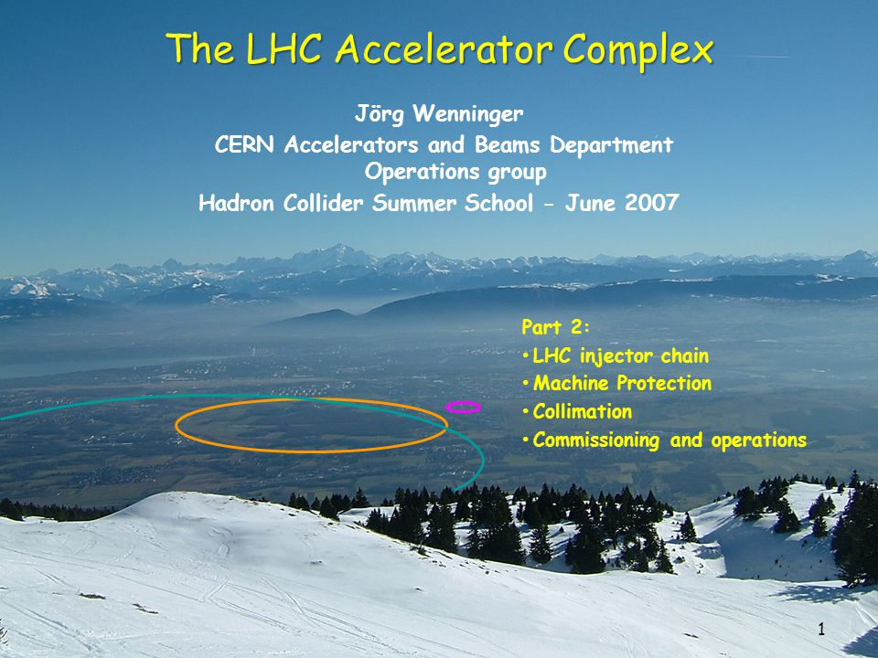 1 The LHC Accelerator Complex Jörg Wenninger CERN Accelerators and Beams Department Operations group Hadron Collider Summer School - June 2007 Part 2: LHC injector chain Machine Protection Collimation Commissioning and operations