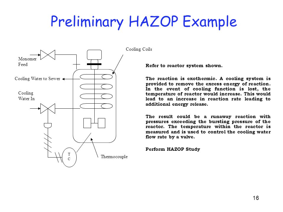 16 Preliminary HAZOP Example TCTC Cooling Coils Monomer Feed Cooling Water to Sewer Cooling Water In Thermocouple Refer to reactor system shown. The r