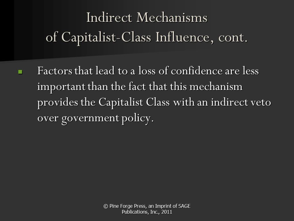 © Pine Forge Press, an Imprint of SAGE Publications, Inc., 2011 Indirect Mechanisms of Capitalist-Class Influence, cont. Factors that lead to a loss o