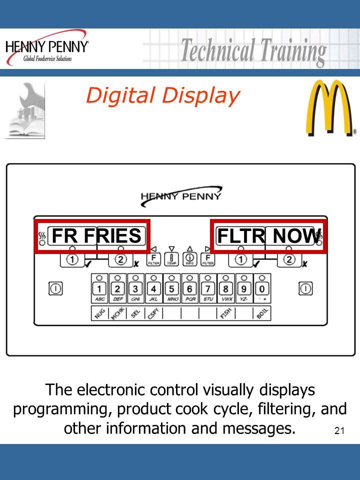 21 Digital Display FLTR NOW The electronic control visually displays programming, product cook cycle, filtering, and other information and messages. F