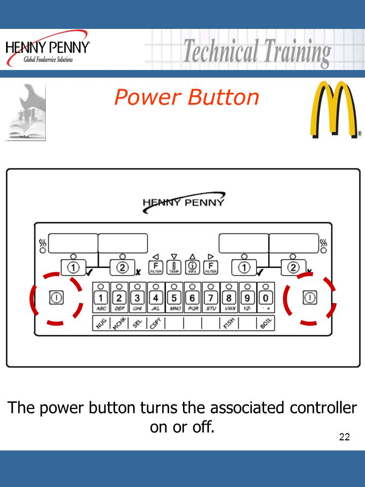 22 The power button turns the associated controller on or off. Power Button