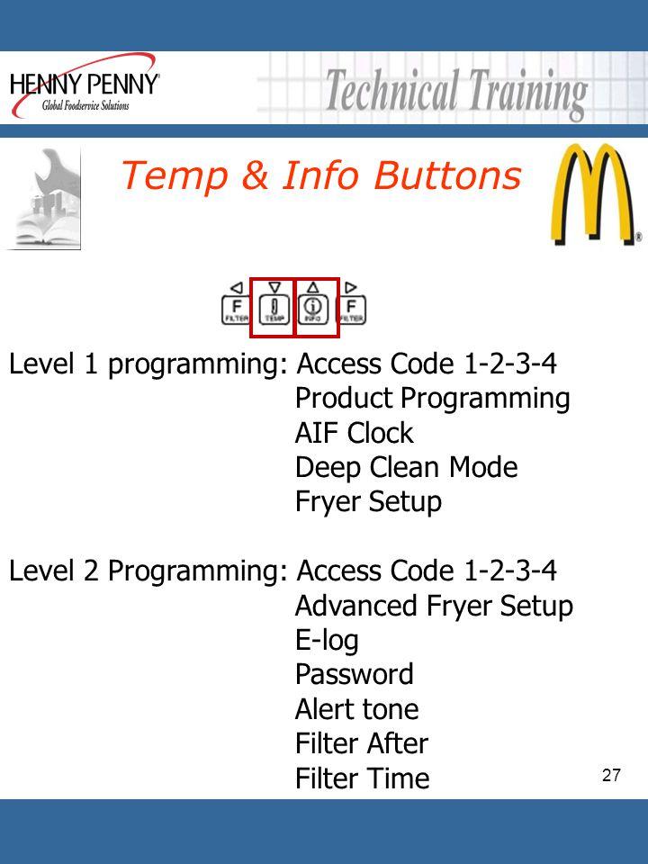 27 Level 1 programming: Access Code 1-2-3-4 Product Programming AIF Clock Deep Clean Mode Fryer Setup Level 2 Programming: Access Code 1-2-3-4 Advance