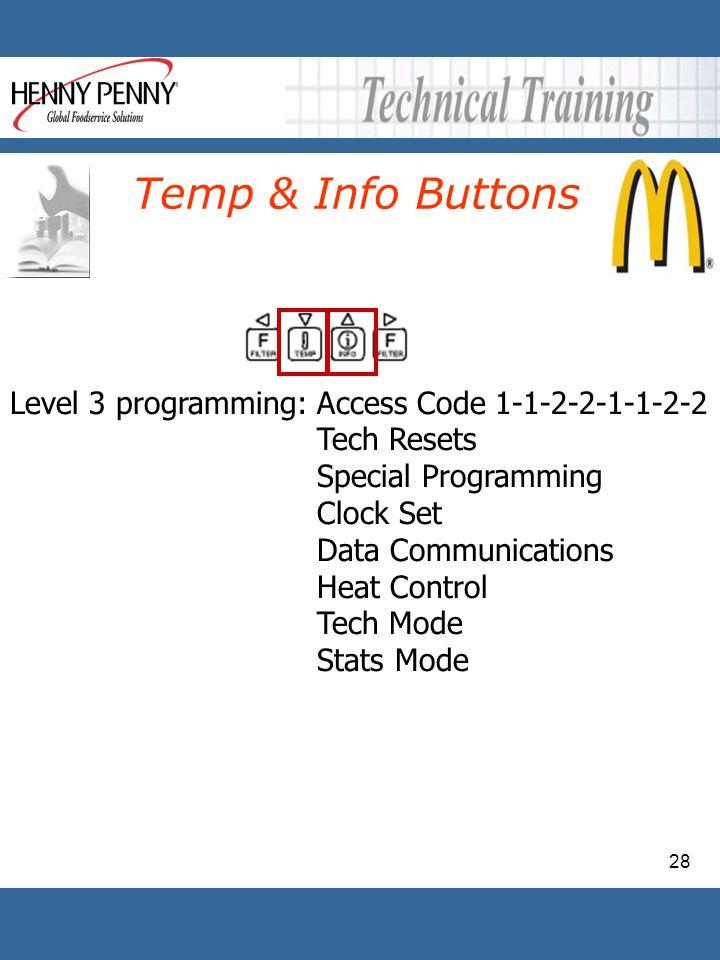 28 Temp & Info Buttons Level 3 programming: Access Code 1-1-2-2-1-1-2-2 Tech Resets Special Programming Clock Set Data Communications Heat Control Tec