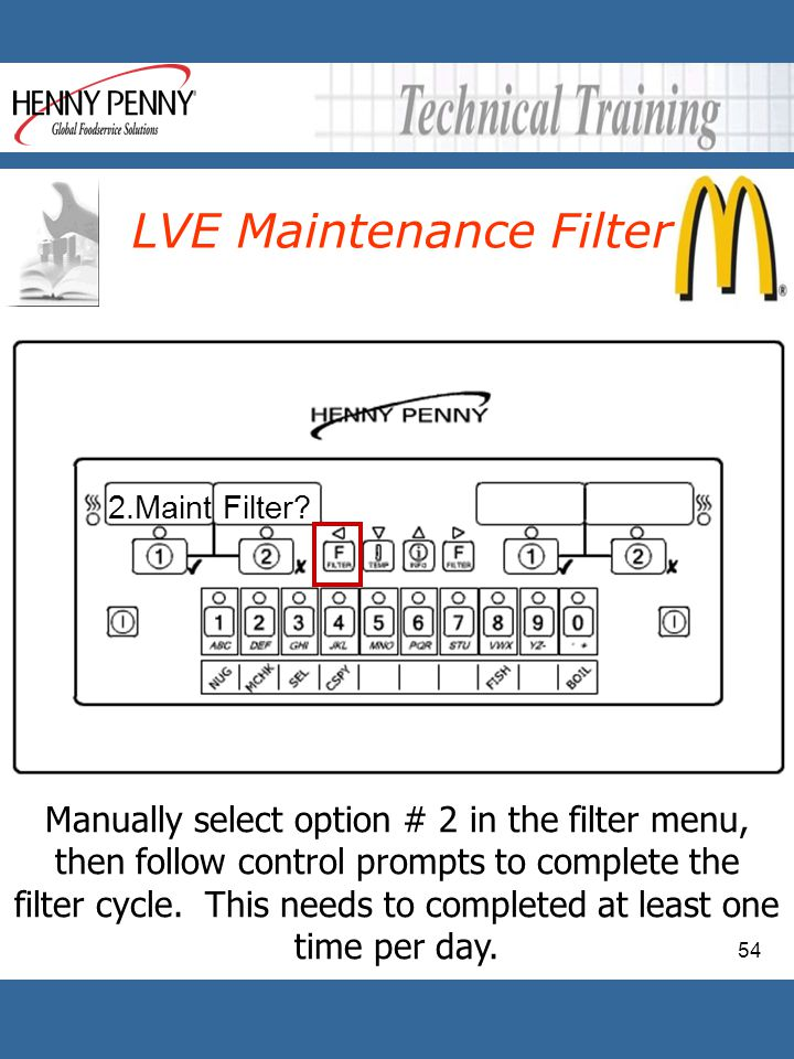 54 LVE Maintenance Filter Manually select option # 2 in the filter menu, then follow control prompts to complete the filter cycle. This needs to compl