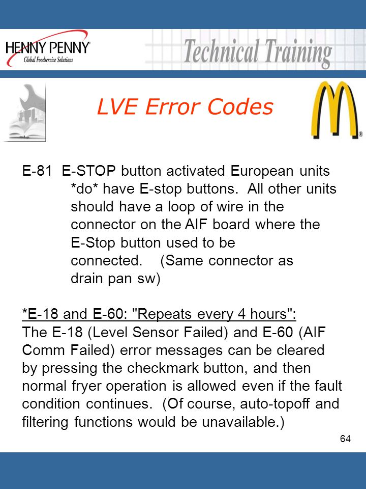 64 LVE Error Codes E-81 E-STOP button activated European units *do* have E-stop buttons. All other units should have a loop of wire in the connector o