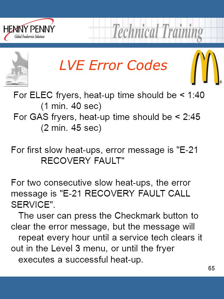 65 For ELEC fryers, heat-up time should be < 1:40 (1 min. 40 sec) For GAS fryers, heat-up time should be < 2:45 (2 min. 45 sec) For first slow heat-up