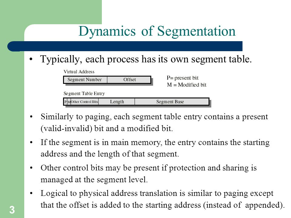 3 Dynamics of Segmentation Typically, each process has its own segment table. Similarly to paging, each segment table entry contains a present (valid-
