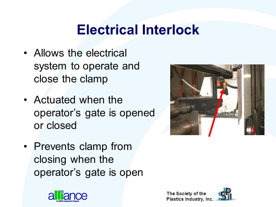 The Society of the Plastics Industry, Inc. Electrical Interlock Allows the electrical system to operate and close the clamp Actuated when the operator
