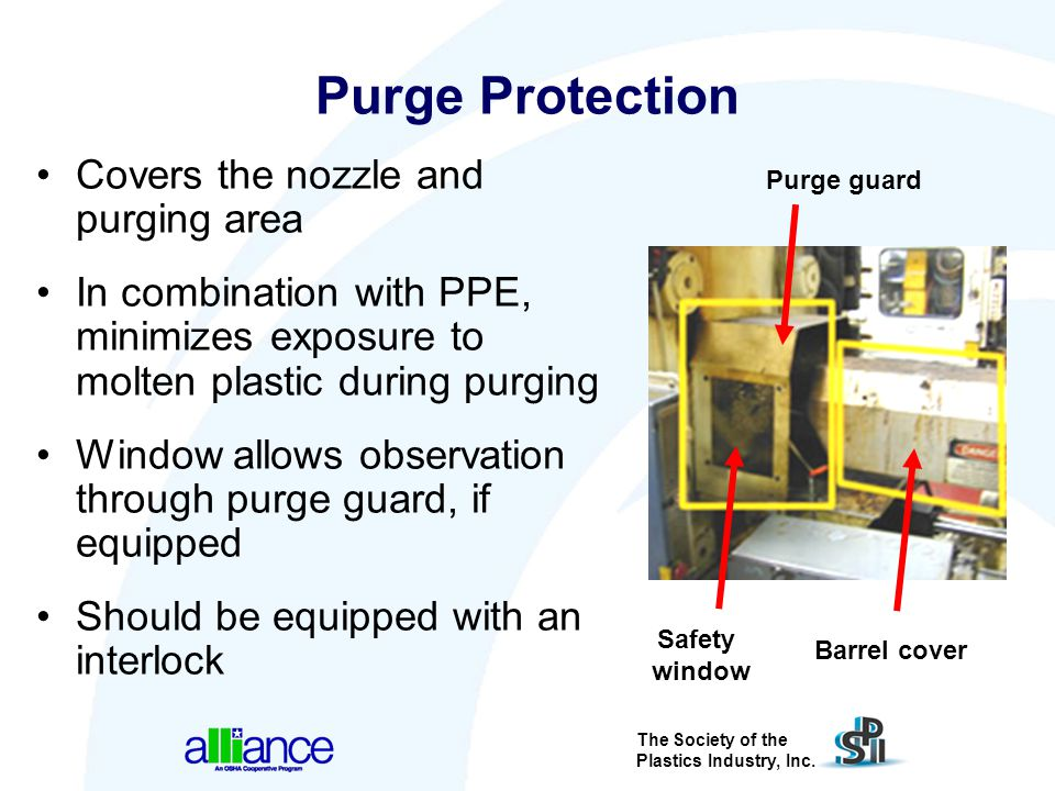 The Society of the Plastics Industry, Inc. Purge Protection Covers the nozzle and purging area In combination with PPE, minimizes exposure to molten p