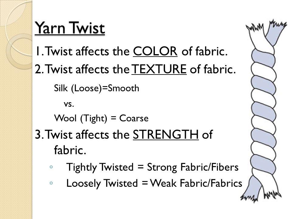 Yarn Twist 1. Twist affects the COLOR of fabric. 2. Twist affects the TEXTURE of fabric. Silk (Loose)=Smooth vs. Wool (Tight) = Coarse 3. Twist affect