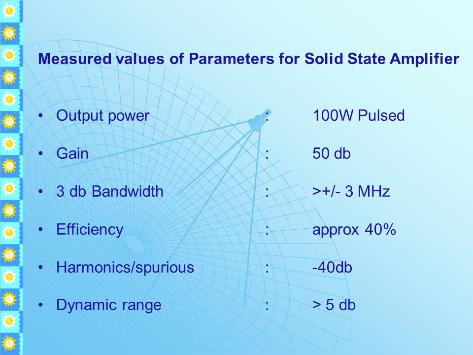 Measured values of Parameters for Solid State Amplifier Output power:100W Pulsed Gain:50 db 3 db Bandwidth:>+/- 3 MHz Efficiency:approx 40% Harmonics/spurious:-40db Dynamic range:> 5 db