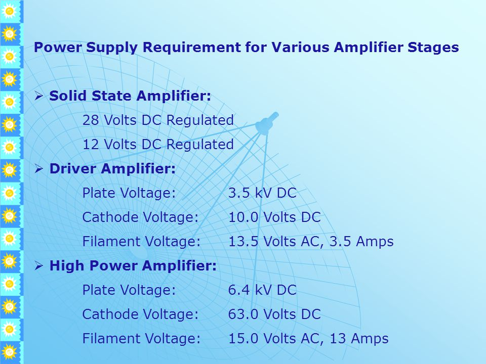 Power Supply Requirement for Various Amplifier Stages  Solid State Amplifier: 28 Volts DC Regulated 12 Volts DC Regulated  Driver Amplifier: Plate Voltage:3.5 kV DC Cathode Voltage:10.0 Volts DC Filament Voltage:13.5 Volts AC, 3.5 Amps  High Power Amplifier: Plate Voltage:6.4 kV DC Cathode Voltage:63.0 Volts DC Filament Voltage:15.0 Volts AC, 13 Amps