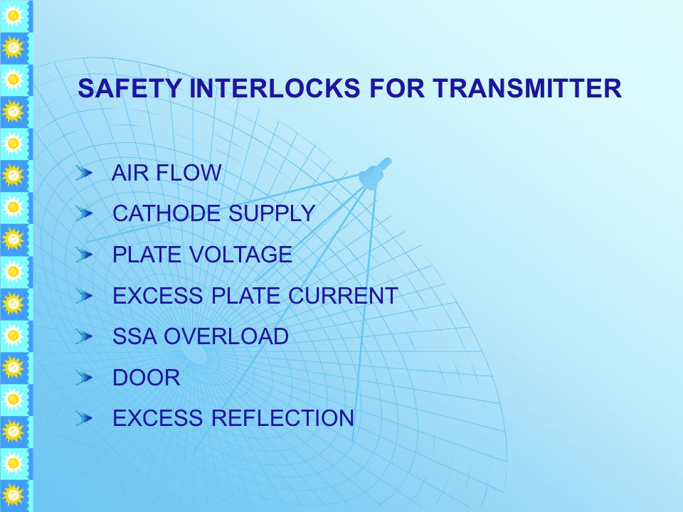 SAFETY INTERLOCKS FOR TRANSMITTER AIR FLOW CATHODE SUPPLY PLATE VOLTAGE EXCESS PLATE CURRENT SSA OVERLOAD DOOR EXCESS REFLECTION