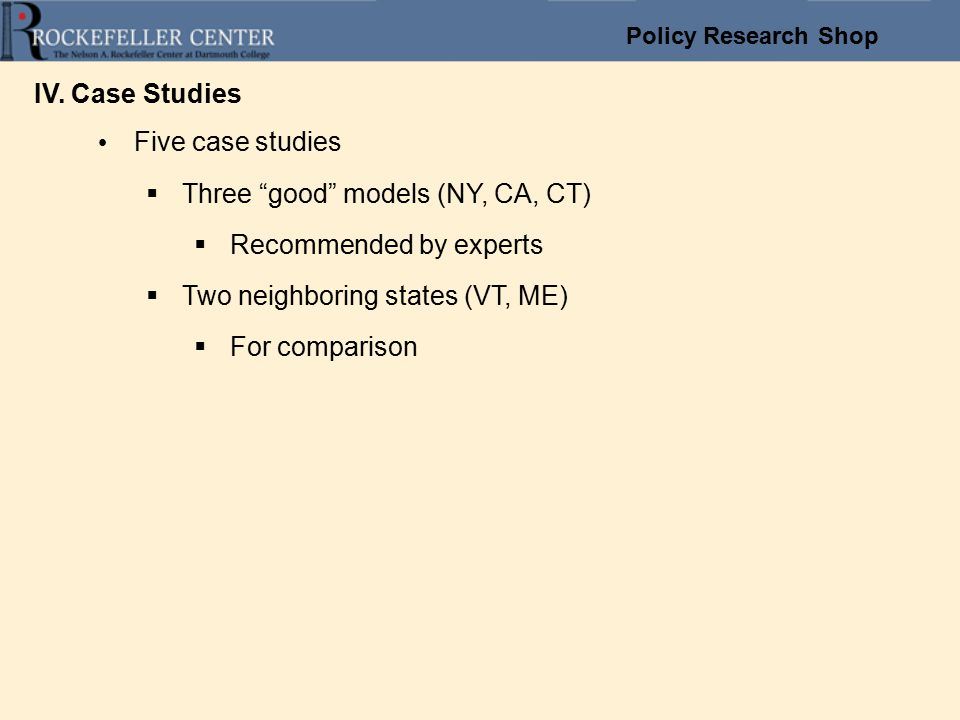 Policy Research Shop IV.